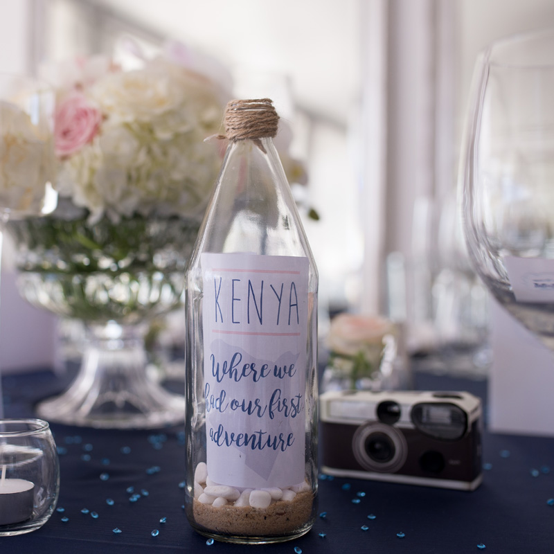 Beach message in a bottle wedding table number - Invitation Cafe