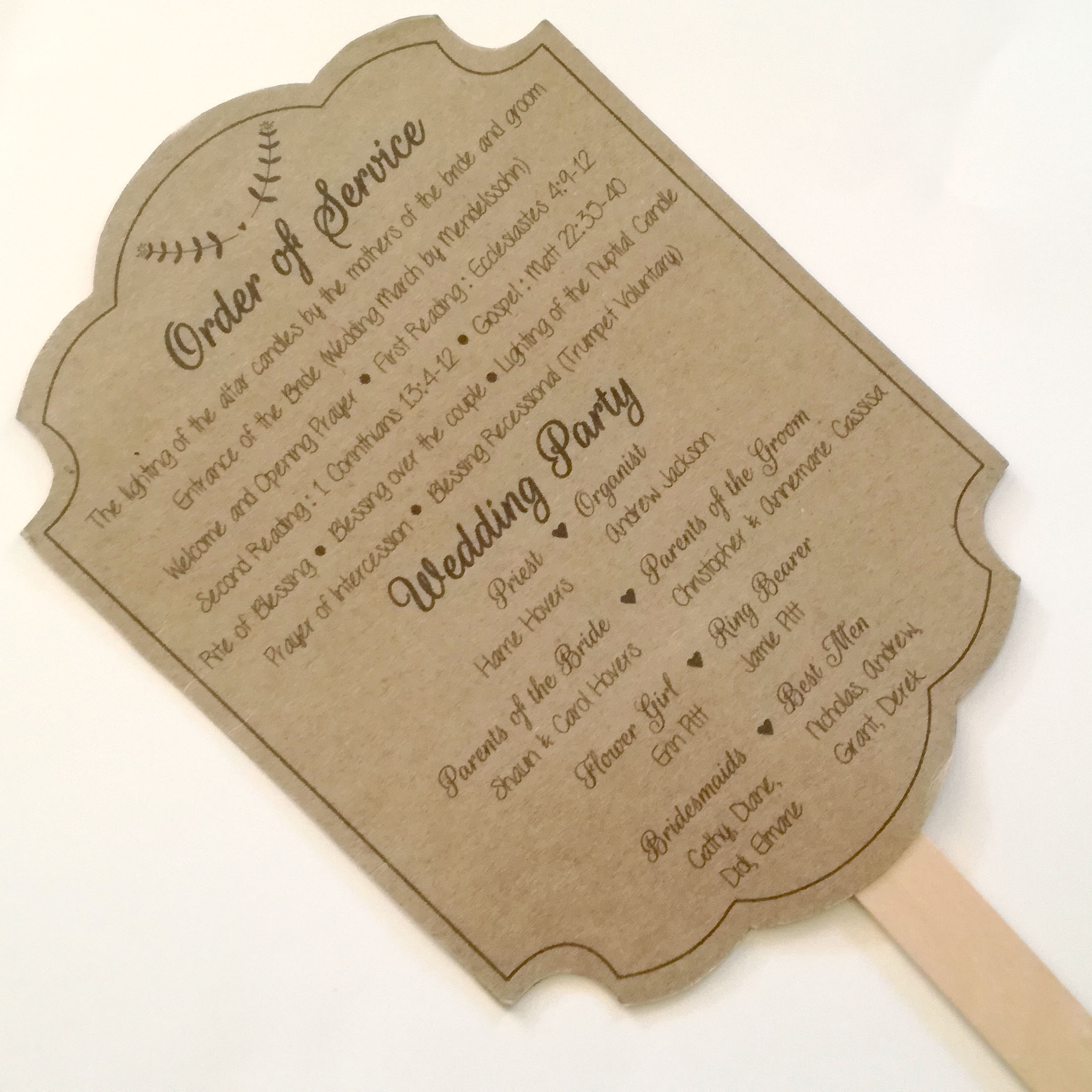 Rustic Wedding Order Of Service Paddle Fan Invitation Cafe